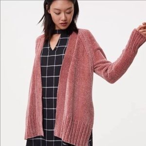 Loft Chenille Open Cardigan In Dusty Rose